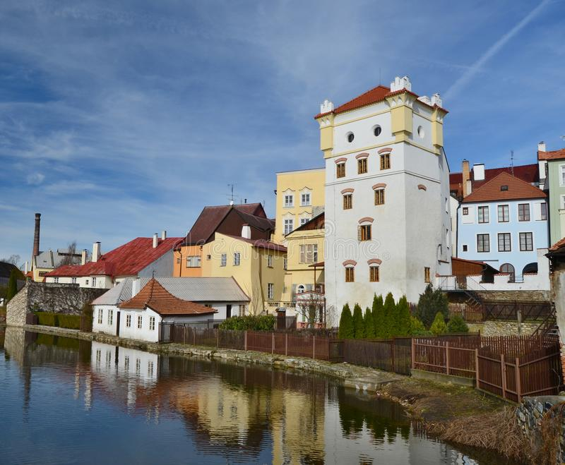 Houses in the historical part, town Jindrichuv Hradec, southern Bohemia. Czech Republic royalty free stock photos