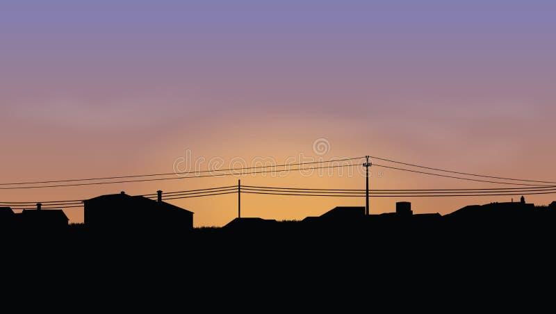 houses horisont stock illustrationer