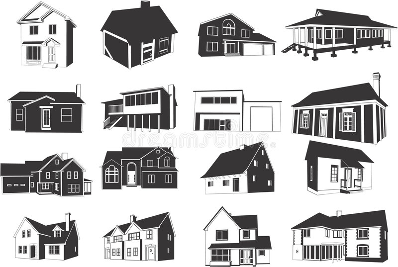 Houses icons. Set of twelve icons of various houses on white background