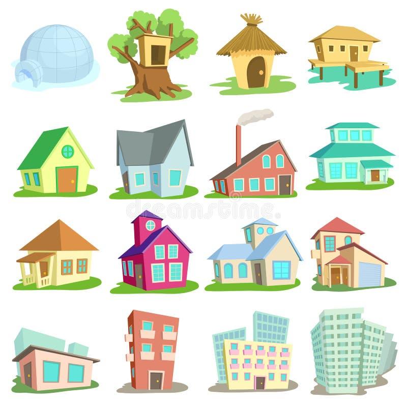 Houses icons set, cartoon style vector illustration