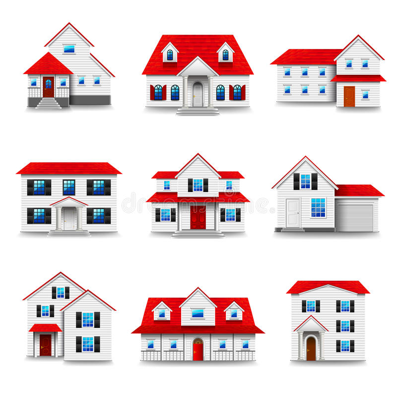 Houses icons vector set royalty free illustration