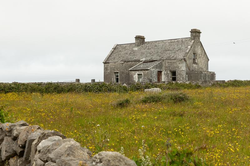 Houses on the Aran Islands. Houses on the isolated and stark Aran Island of Inishmoor in Ireland royalty free stock photography