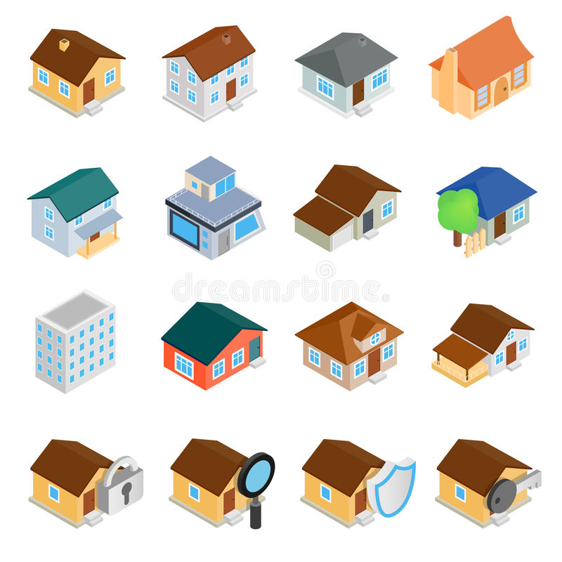 Houses isometric 3d icons set vector illustration