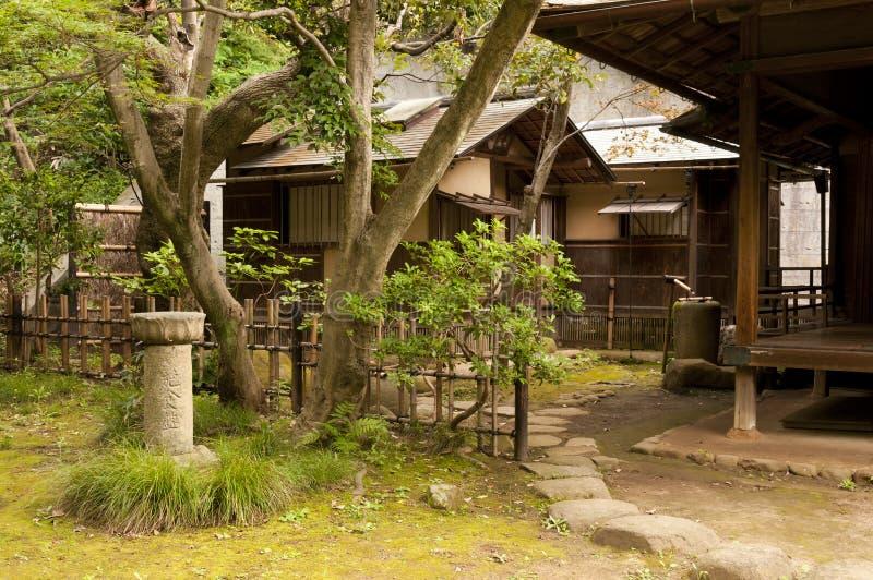 Houses in japaneese garden Sankei-en. Yokohama, Japan stock photos
