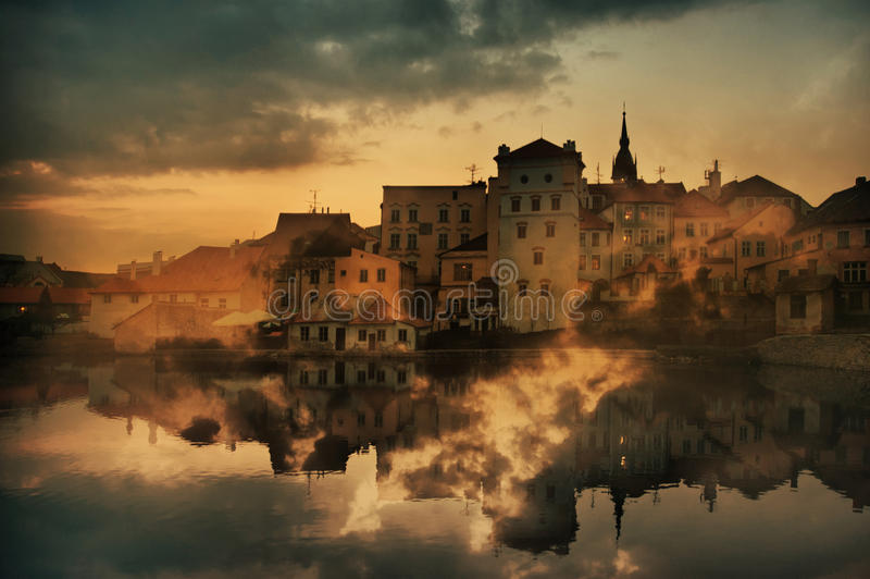Houses in Jindrichuv Hradec. A double exposure image of the old houses in Jindrichuv Hradec, South Bohemia, Czech Republic stock image