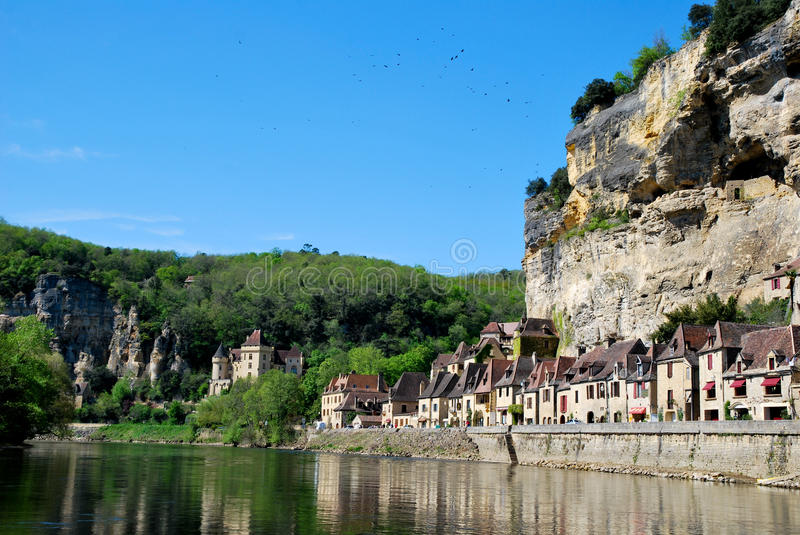 Houses of La Roque Gageac in France stock photo