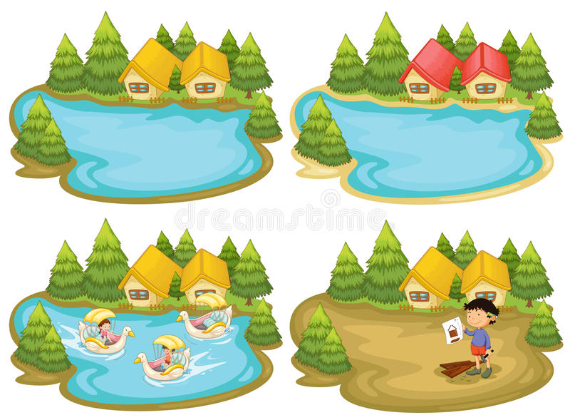 Download Houses and lake stock vector. Image of duck, outside - 50806352
