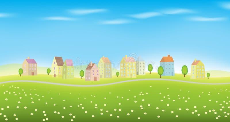 Houses on Landscape. Vector illustration of landscape full of houses royalty free illustration