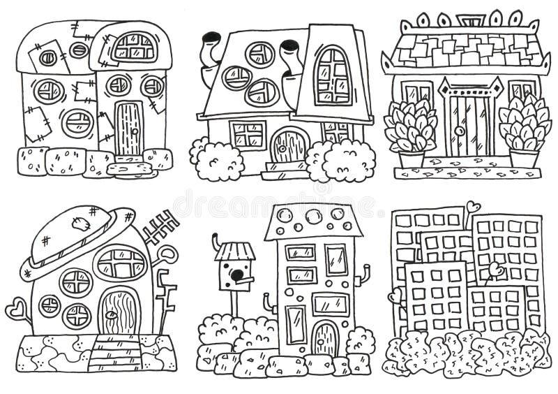 Houses linework. Hand drawing set stock illustration