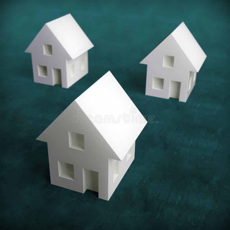 houses liten white tre royaltyfri illustrationer