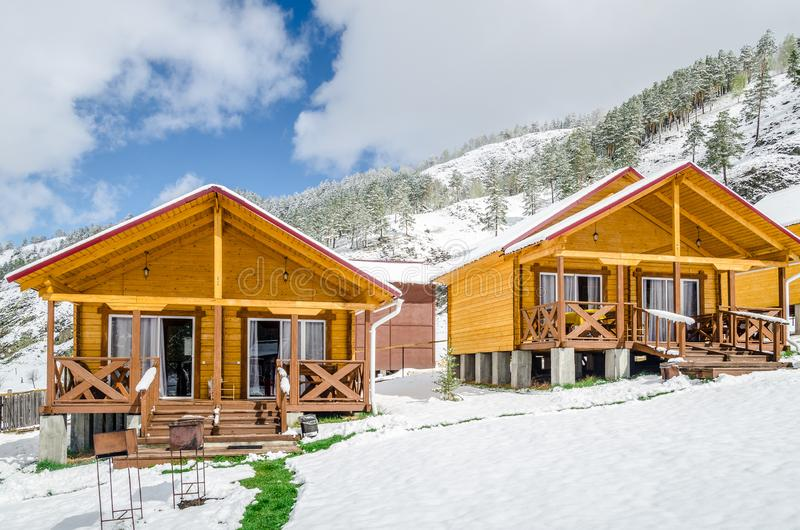 Chalets in the mountains stock image