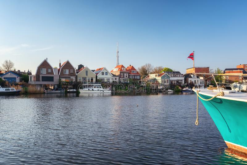 Houses located on the Oude Haven in Zaandam stock images