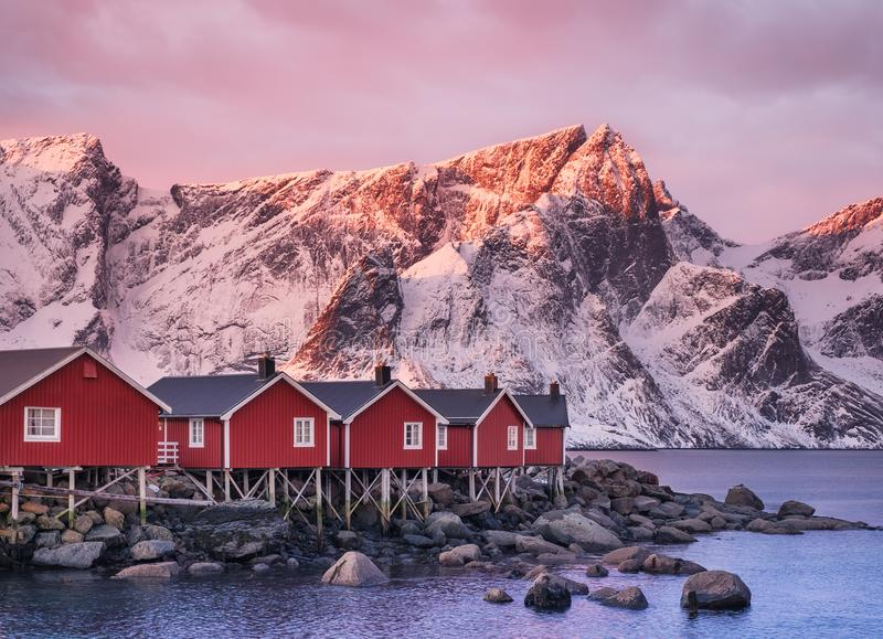 Houses in the Lofoten islands bay in the Norway. Houses in the Lofoten islands bay. Natural landscape during sunrise stock image