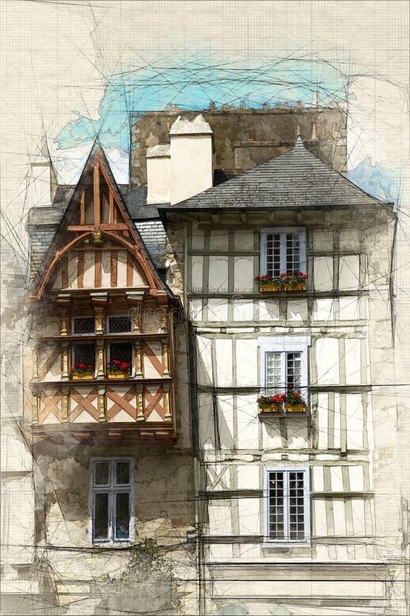 houses medeltida vektor illustrationer