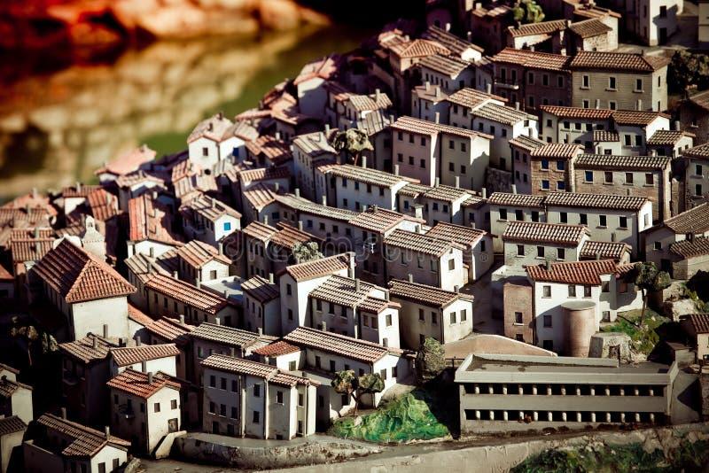 Houses in miniature. In park Italia in miniatura, Rimini, Italy royalty free stock image