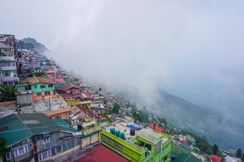 Houses on the mountain. Panorama of the city Darjeeling stock photos