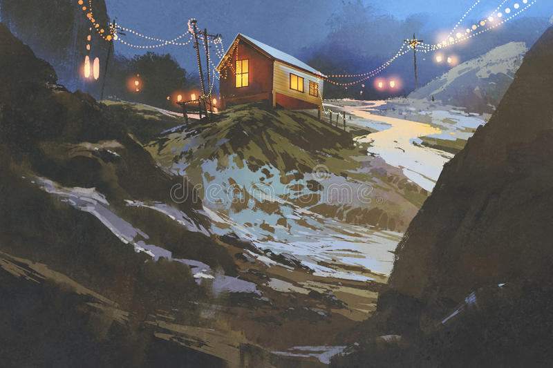 Houses in the mountain in winter vector illustration