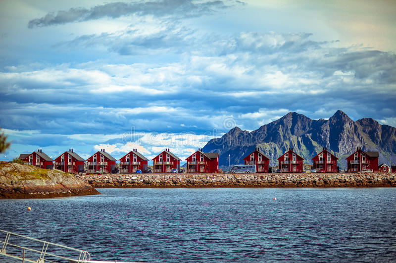 Houses in the mountains and the Norwegian Sea stock photo