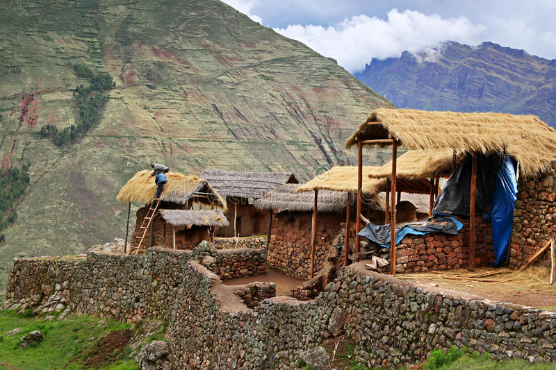 Houses in mountains in Peru royalty free stock image