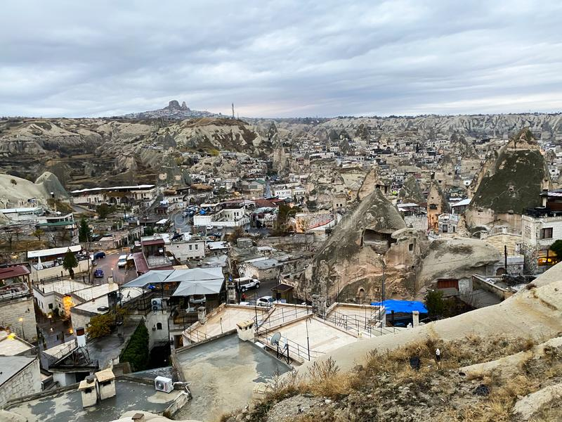 Houses among the mountains. View of the old city. Cappadocia Turkey November 5, 2019 stock photo