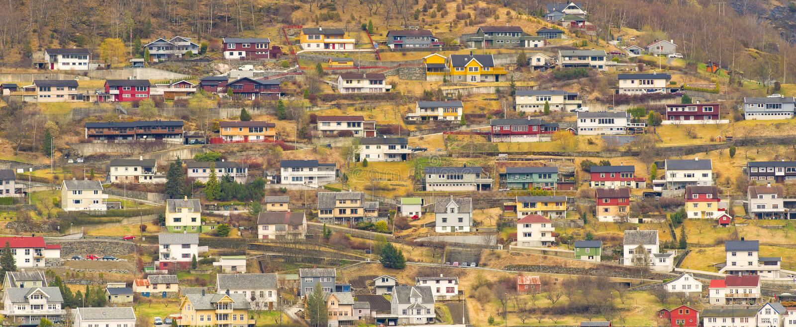 Houses on a Mountainside, Norway stock image