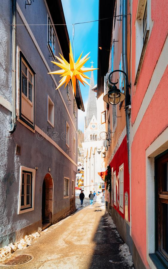 Houses at Narrow street in Hallstatt near Salzburg in Austria royalty free stock images