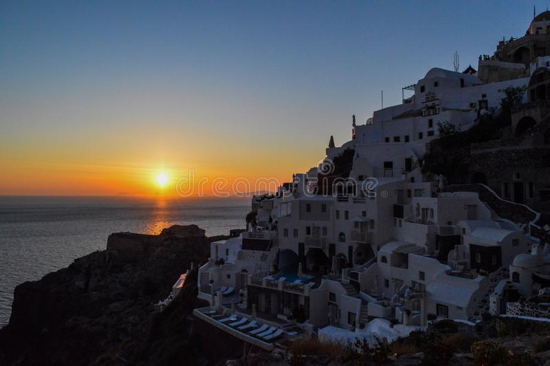 Houses Near the Ocean at Sunset stock photo