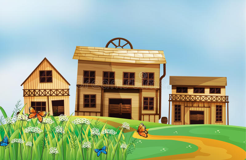 Download Houses in the neighborhood stock illustration. Illustration of butterflies - 29373661