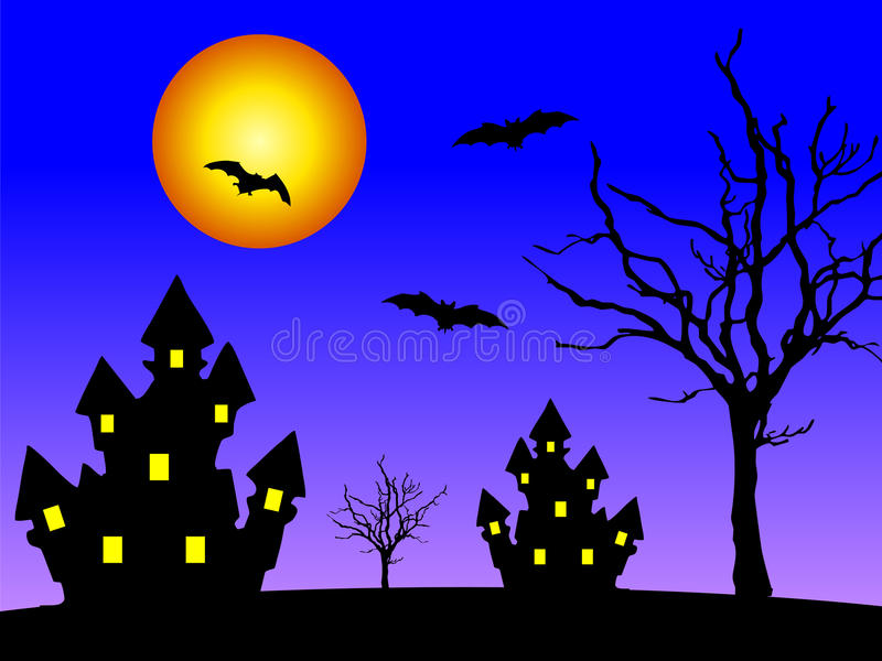 Houses at night stock illustration