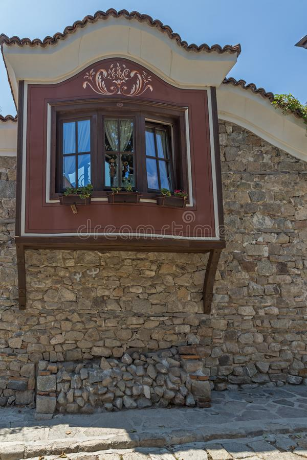 Houses of the nineteenth century in old town of city of Plovdiv, Bulgaria. PLOVDIV, BULGARIA - JULY 5, 2018: Houses of the nineteenth century in old town of city royalty free stock photos