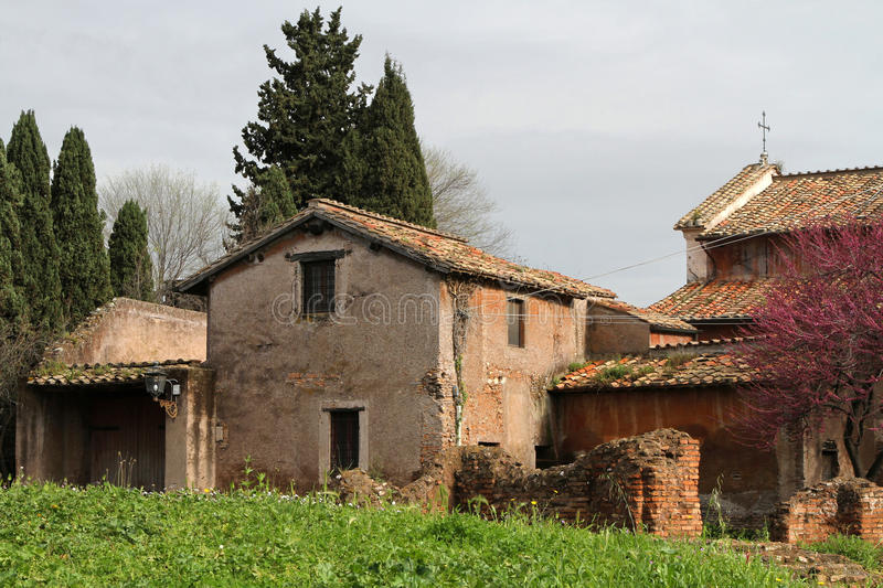 Houses on the Palatine Hill. Houses and gardens on the Palatine Hill stock photos