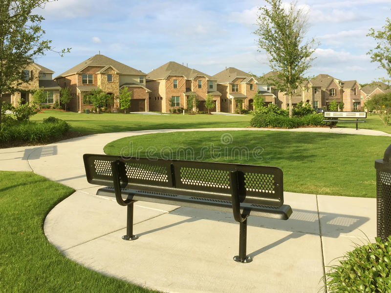 Houses and park design in community royalty free stock image