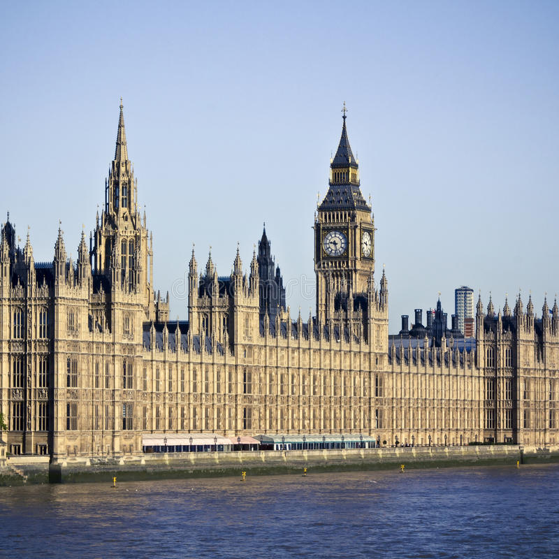 Houses of Parliament. And Big Ben in Westminster, London. Clear summer sky royalty free stock photography