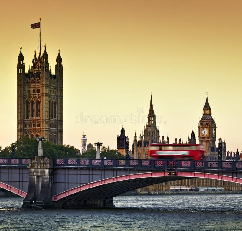 Houses of Parliament. Big Ben and Lambeth Bridge at dusk, London stock image