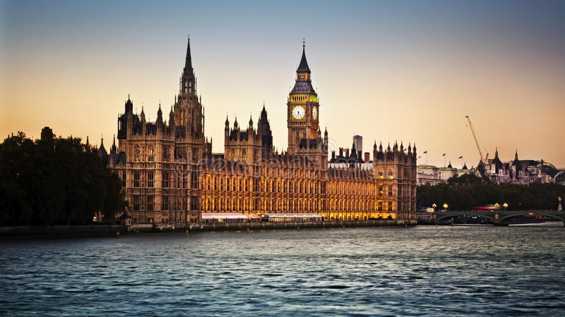 Houses of Parliament. And Big Ben in Westminster at dusk, London royalty free stock photo