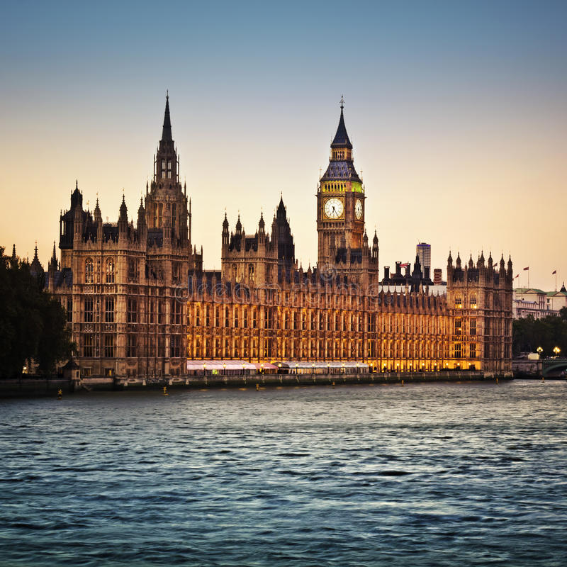 Houses of Parliament. And Big Ben in Westminster at dusk, London stock photo