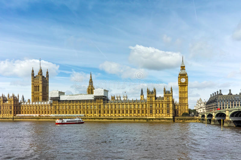 Houses of Parliament with Big Ben, Westminster Palace, London, Great Britain royalty free stock photo