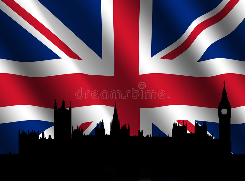 Houses of parliament with Flag. Houses of parliament London with rippled British Flag illustration vector illustration