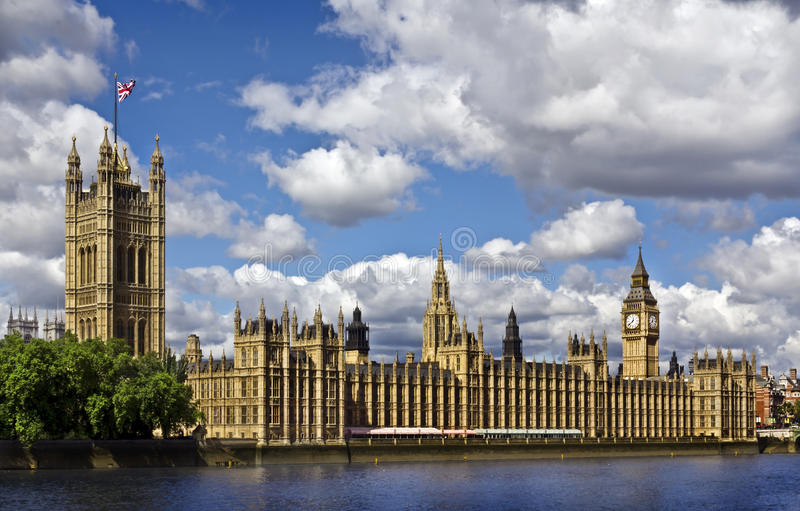 Houses of Parliament, London. Houses of Parliament and the Big Ben in summer royalty free stock photo