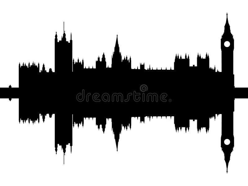 Houses of Parliament London. Reflected isolated black on white vector illustration