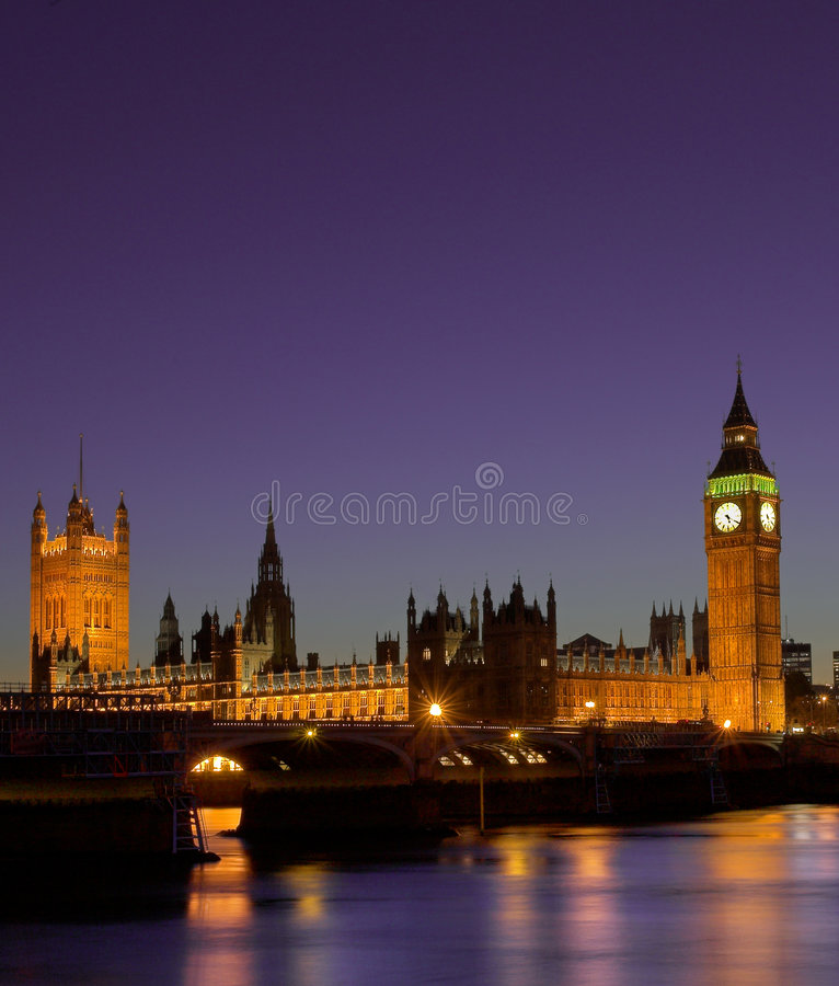 Houses of Parliament at night London royalty free stock image