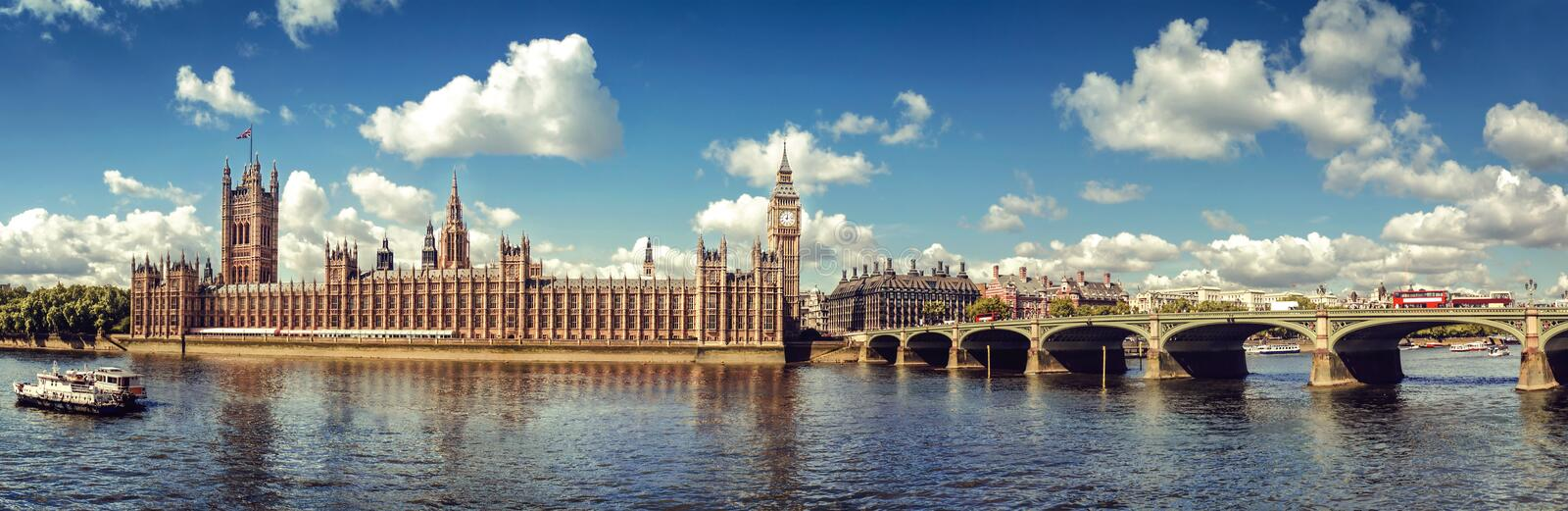 Houses of Parliament Panorama royalty free stock photo