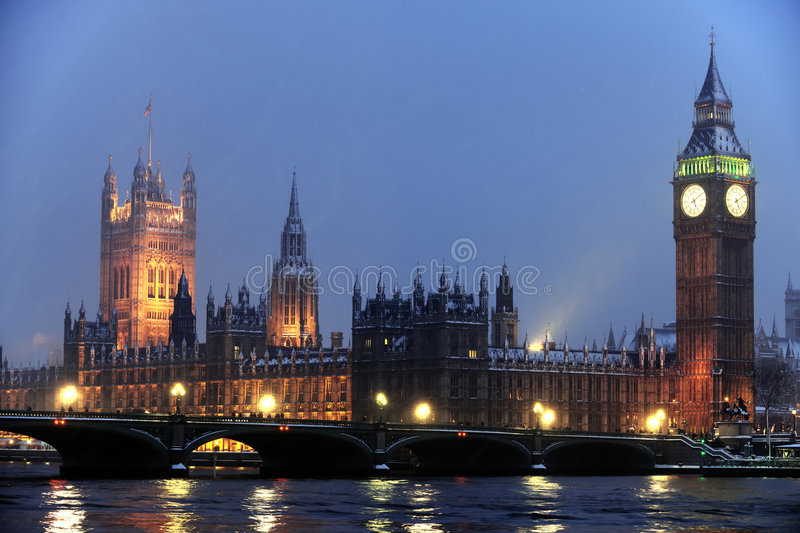 Download Houses Of Parliament In The Snow At Nightfall Stock Photo - Image: 8059190