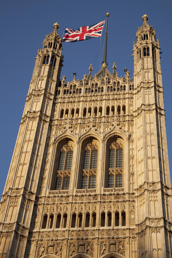 Houses Of Parliament With The Union Jack Flag, London Royalty Free Stock Photos