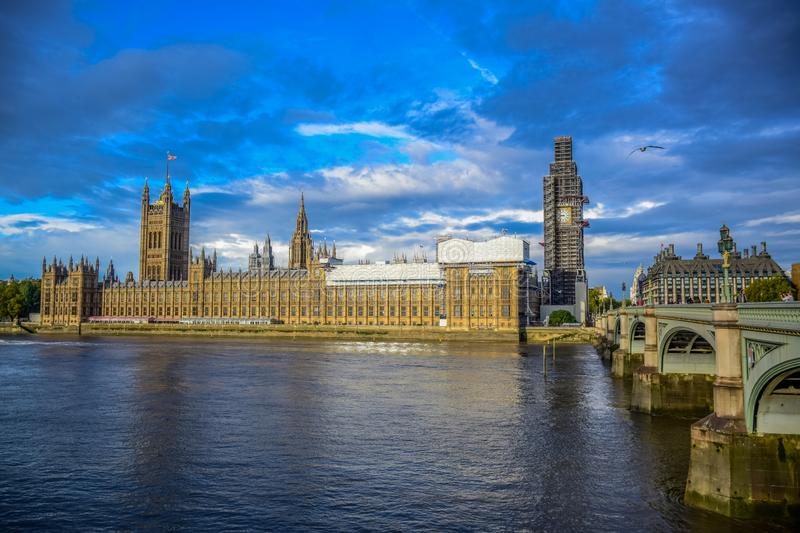 Houses of Parliament, Westminster bridge and The Big Ben clock tower under repair and maintenance, London, UK royalty free stock photos