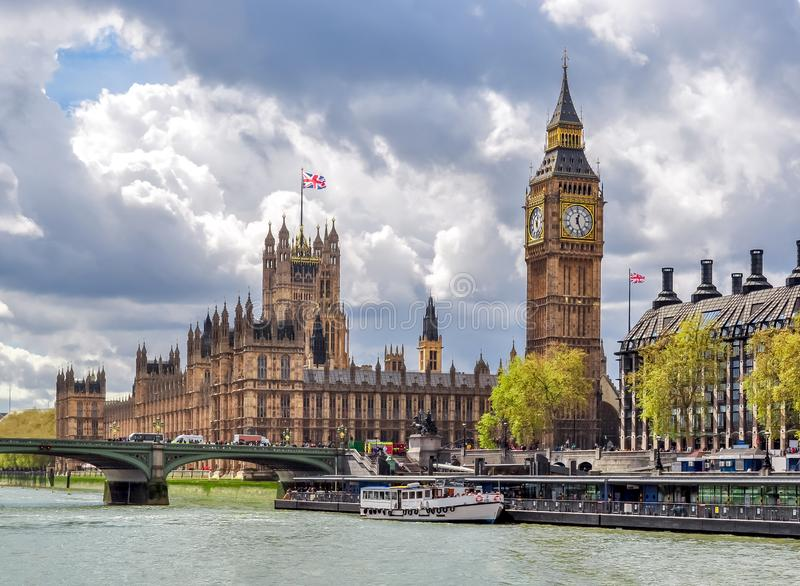 Houses of Parliament Westminster palace and Big Ben tower, London, UK royalty free stock image