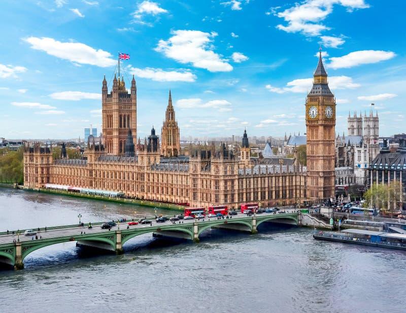 Houses of Parliament Westminster palace and Big Ben tower, London, UK stock photos
