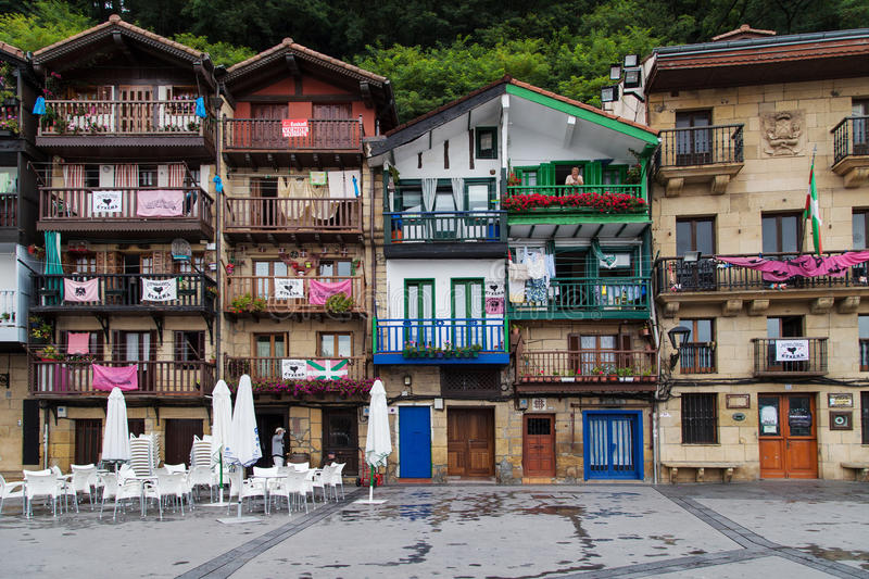 Houses of Pasai Donibane. Houses of the Santiago square in Pasai Donibane, Pasaia, Basque Country, Spain stock photography