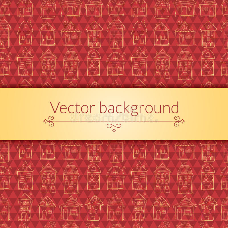 Houses pattern for template card. Vector houses background for template card with central place for text royalty free illustration