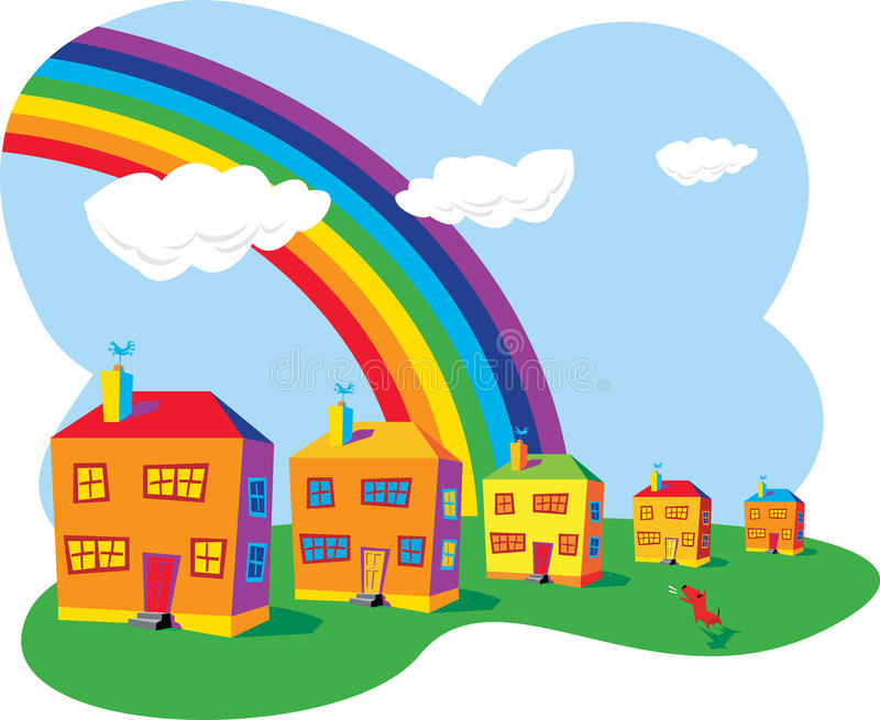 Houses and rainbow royalty free illustration